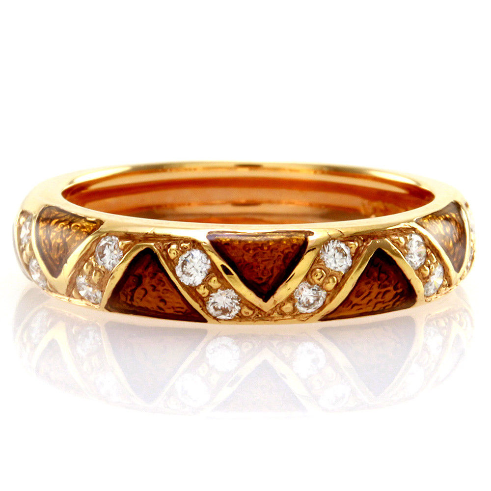 "Image of ""Hidalgo 18K Rose Gold & Brown Enamel with Diamond Zigzag Band Ring"""