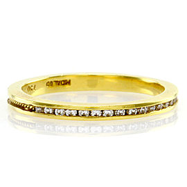 Hidalgo 18K Yellow Gold Diamond and Rope Gold Channel Stackable Band Ring Size 6.25