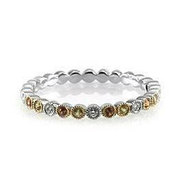 Hidalgo 18K White Gold Yellow and Orange Sapphires with Diamond Band Ring Size 6.5