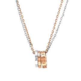 Cartier Love 18K Rose & White Gold Diamonds Necklace