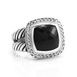 David Yurman Albion 925 Sterling Silver Onyx and Diamond Ring Size 7