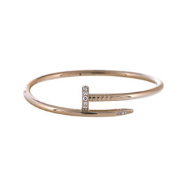 Cartier 18K Rose Gold Diamond Juste Un Clou Bangle / Bracelet Size 17