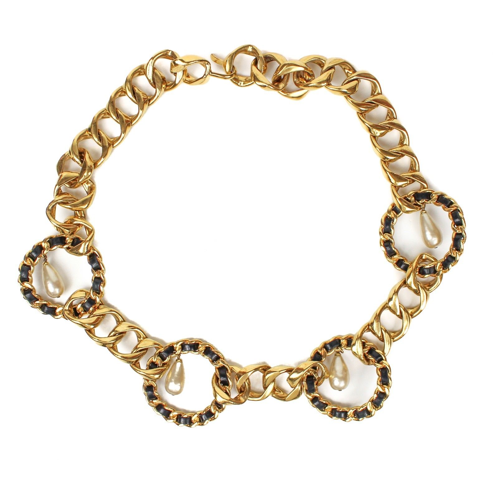 "Image of ""Chanel Gold Tone Hardware Faux Pearl Charm CC Pendant Necklace"""