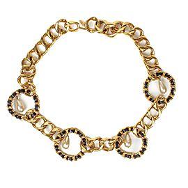 Chanel Gold Tone Hardware Faux Pearl Charm CC Pendant Necklace