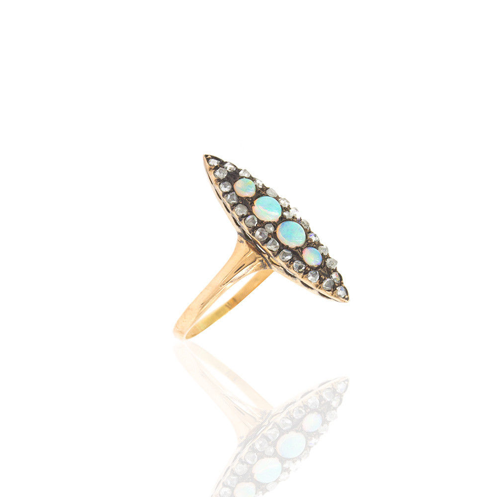 "Image of ""10K Rose Gold and Sterling Silver Opal and Diamond Ring Size 7.75"""