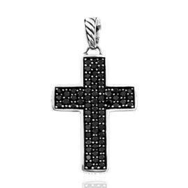 David Yurman Sterling Silver with 1.70ct. Black Diamonds Cross Pendant