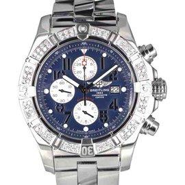 Breitling Super Avenger A13370 Stainless Steel & Diamond Bezel 48mm Mens Watch