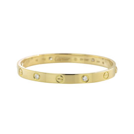 Cartier Love 18K Yellow Gold Diamond Bangle Bracelet Size 16