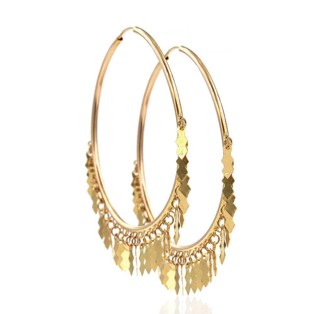 "Image of ""18K Yellow Gold Tube Hoop Large Dangle Earrings"""