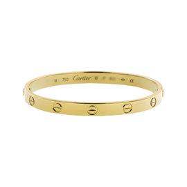 Cartier Love 18K Yellow Gold Bracelet Bangle Size 18