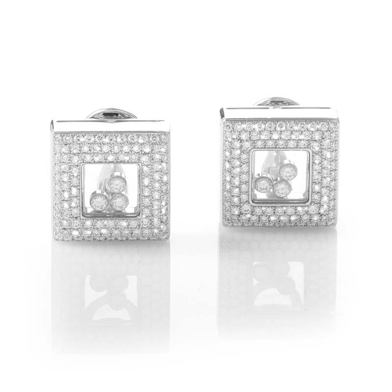 """Image of """"Chopard Happy Diamonds Square 18K White Gold Square Clip-on Earrings"""""""