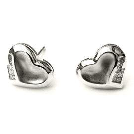 18K White Gold Heart Shaped Earrings