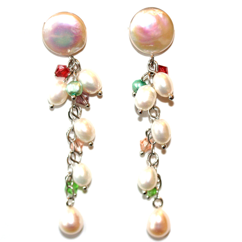 "Image of ""Freshwater Pearl and Silver Hanging Earrings"""