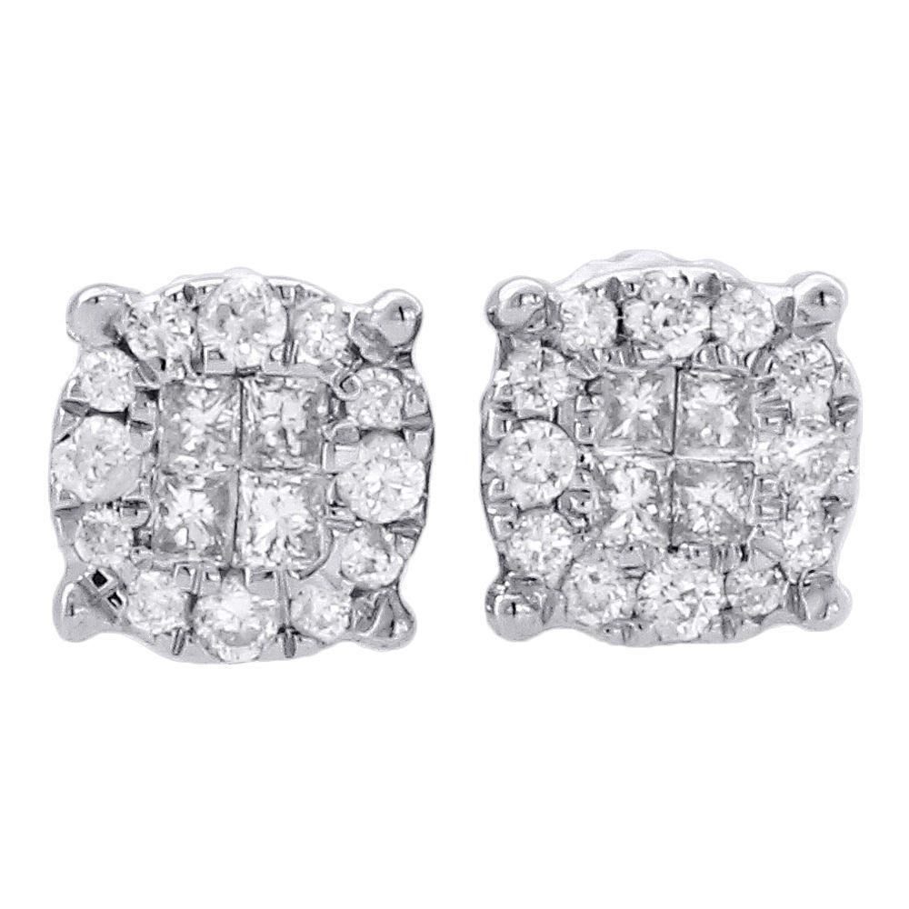 "Image of ""14K White Gold 0.25ct Round & Princess Cut Diamond Stud Earrings"""