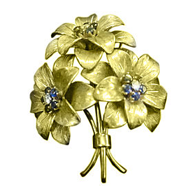 Tiffany & Co. 18K Yellow Gold Diamond Sapphire Brooch