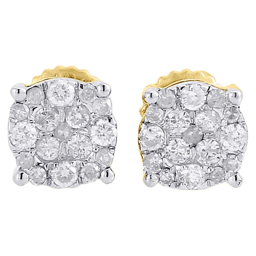 "Image of ""10K Yellow Gold Round Cut 0.27ctw. Circle Studs Diamond Earrings"""