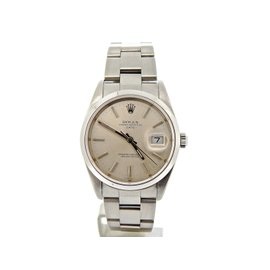 Rolex Date Stainless Steel With Silver Stick Dial 34mm Oyster Band Watch