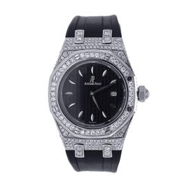 Audemars Piguet Royal Oak Diamond Bezel and Case Black Rubber Strap Womens Watch