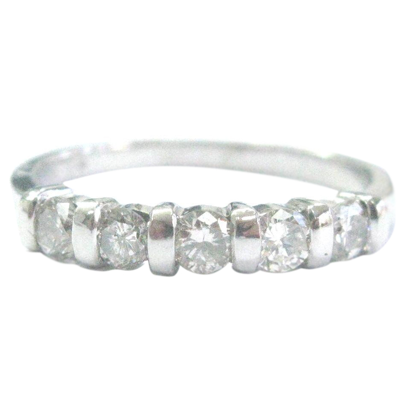 "Image of ""Platinum Round Cut Diamond 5-Stone Bar Setting Band Ring"""