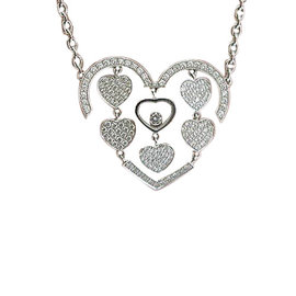 Chopard 18K White Gold Amore Hearts Diamond Necklace
