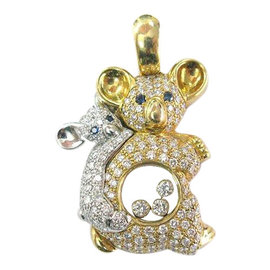 Chopard 18K Mother Daughter Bear Diamond Pendant