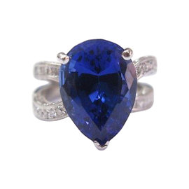 18K White Gold Gem Tanzanite Diamond Anniversary Ring