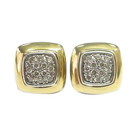 David Yurman 18K Gold & Silver Diamond Block Earrings