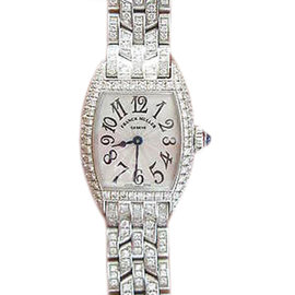 Franck Muller Cintree Curvex 18K White Gold Diamond Watch # 2500 QZD