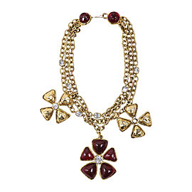 Chanel Gold Tone Red Multi Strand Chain Flower Necklace