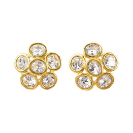 Chanel Gold Tone Clear Oversized Jeweled Floral Earrings