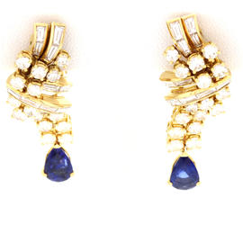 Fred Paris 18K Yellow Gold Diamond Sapphire Earrings