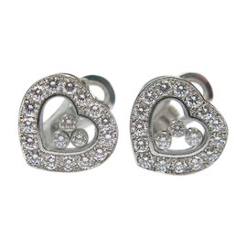 Chopard Happy Diamond 18K White Gold Hearts Earrings