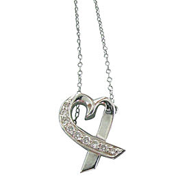 Tiffany & Co. Paloma Picasso 18K White Gold Diamond Heart Necklace