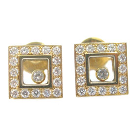 Chopard 18K Yellow Gold Large Happy Diamond Earrings