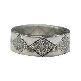 Chanel 18K White Gold Quilted Diamond Band Ring
