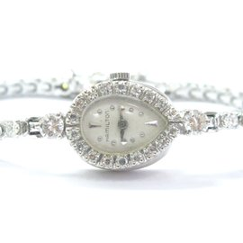 Hamilton Vintage Diamond White Gold Wristwatch