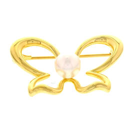 Mikimoto 18K Yellow Gold Pearl Butterfly Pin Brooch