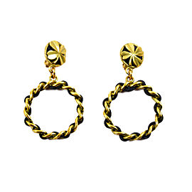 Chanel Gold Tone Metal, Brass and Leather Earrings
