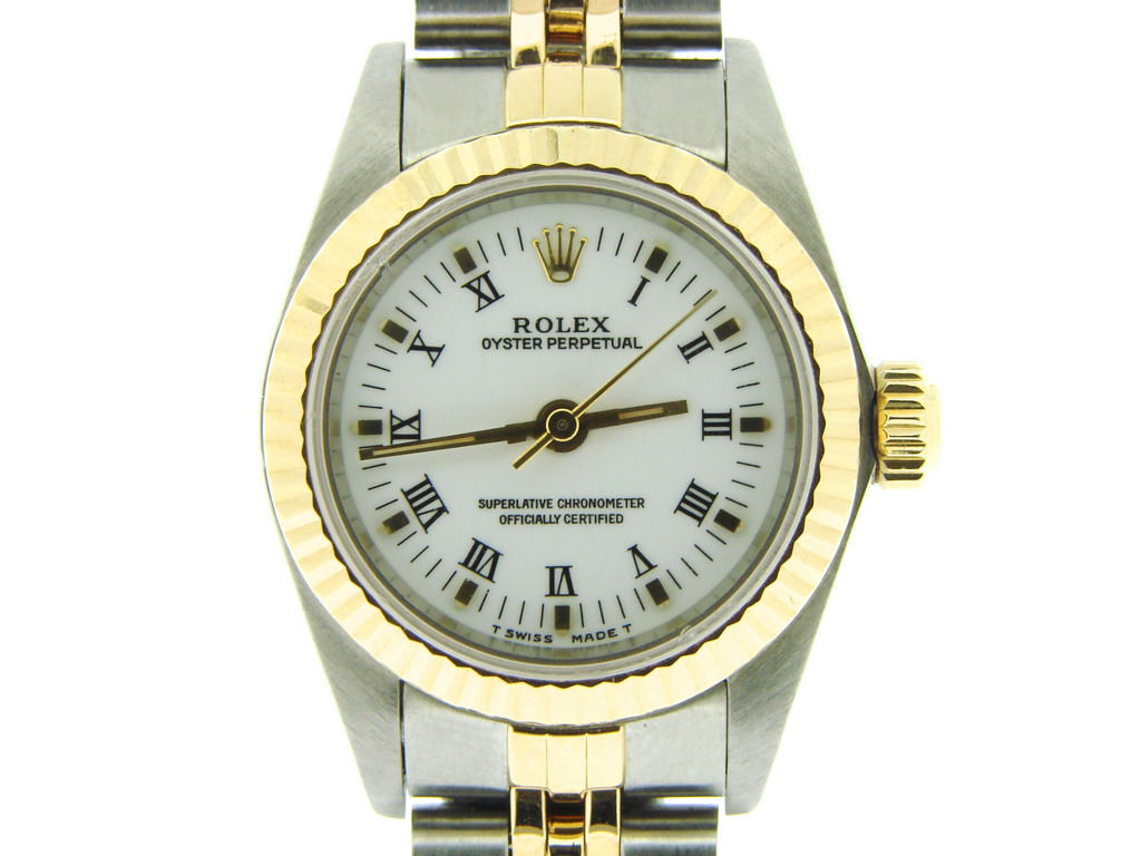 """Image of """"Rolex No-Date Oyster Perpetual 67193 18K Gold & Stainless Steel 24mm"""""""