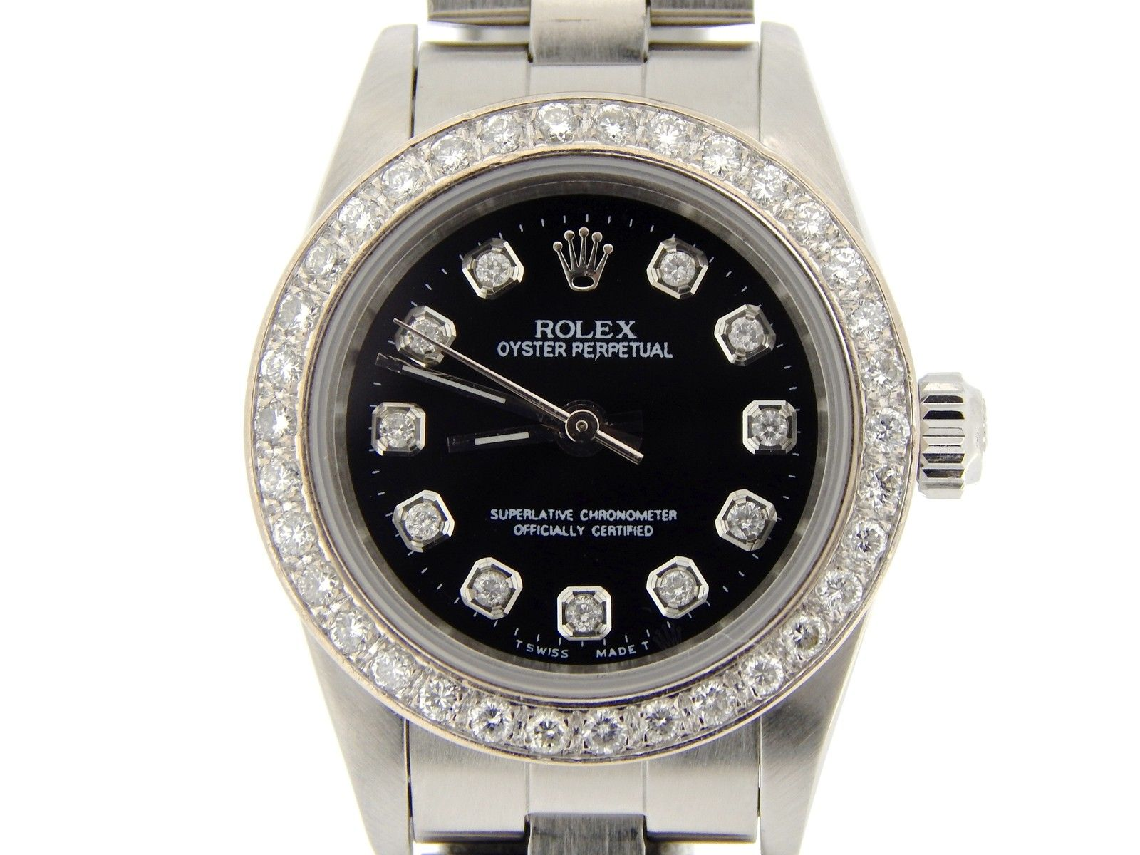"""Image of """"Rolex Oyster Perpetual No-Date 76080 Stainless Steel and Diamond 24mm"""""""