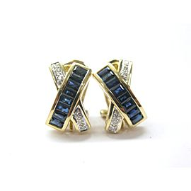 LeVian 18Kt Gem Sapphire Yellow Gold 2.50Ct Diamond Huggie Earrings