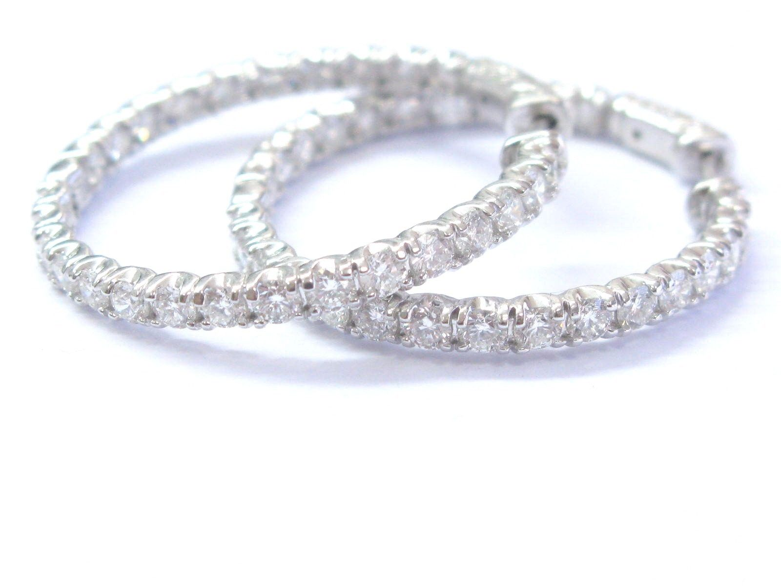 """Image of """"14K White Gold Round Cut Diamond Inside Out Hoop Earrings"""""""