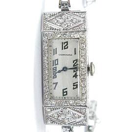 Vintage Concord Platinum 14K Gold Diamond Ladies Watch