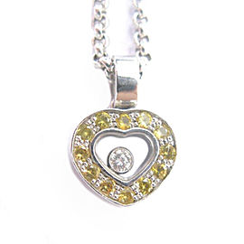 Chopard 18Kt White Gold Diamonds Sapphire Heart Pendant Floating Necklace