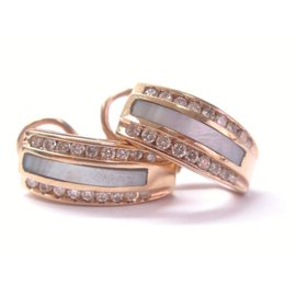 Rose Gold Mother of Pearl Diamond Huggie Earrings
