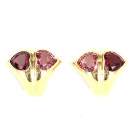 Bulgari 18k Yellow Gold Pink Tourmaline Heart Earrings