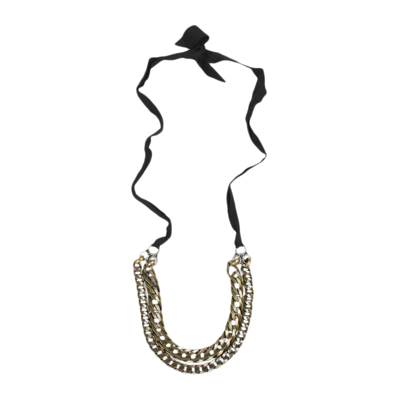 "Image of ""Lanvin Brass Tone Rhinestone Double Curb Chain Ribbon Necklace"""