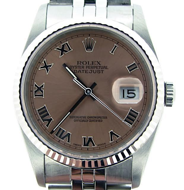 """Image of """"Rolex Stainless Steel/18K White Gold Datejust 16234 Jubilee Salmon"""""""
