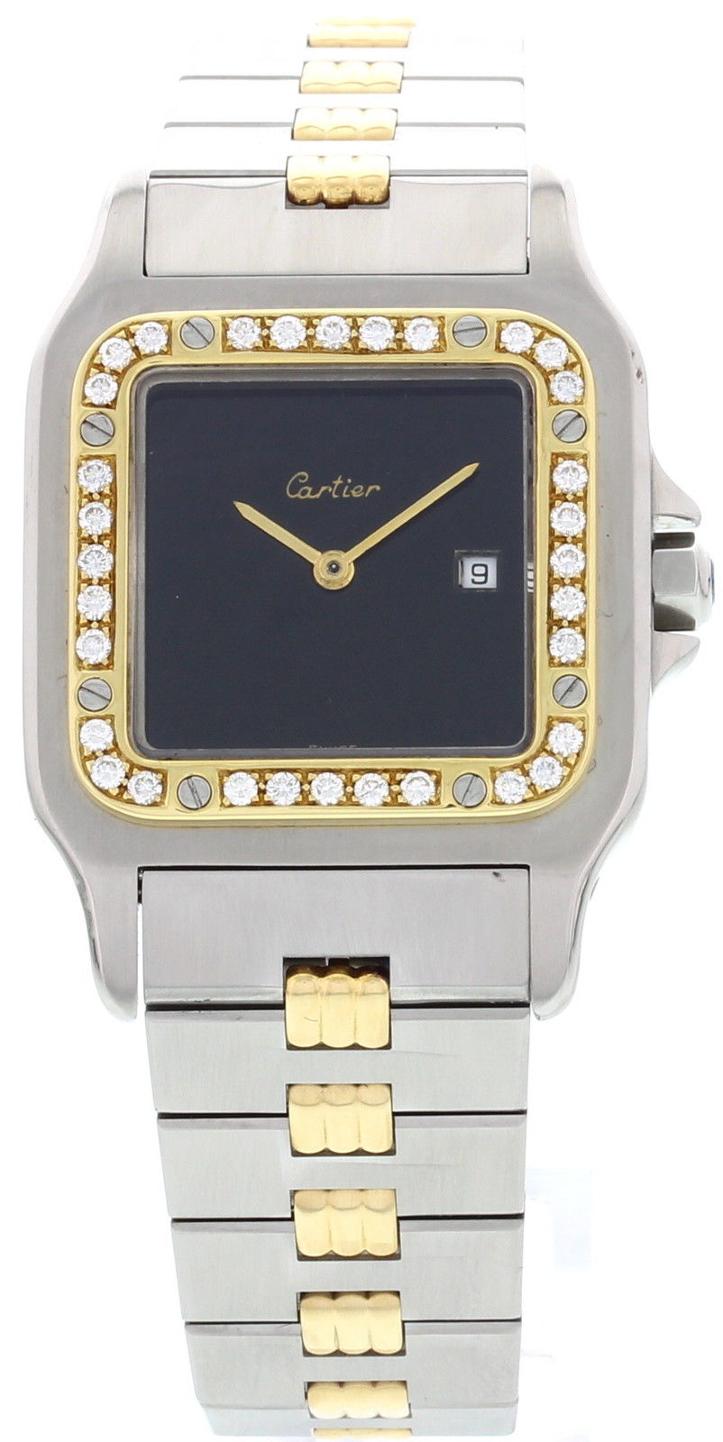 "Image of ""Cartier Santos 18K Yellow Gold & Stainless Steel Automatic Mens Watch"""