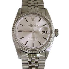 Rolex Datejust 1603 Stainless Steel Silver Stick Mens Vintage Watch